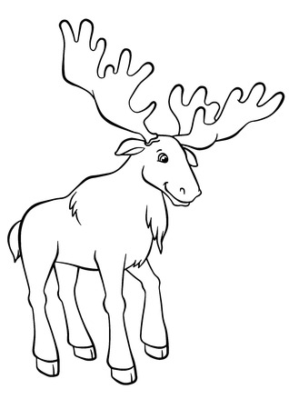 coloration: Coloring pages. Animals. Cute elk stands and smiles.