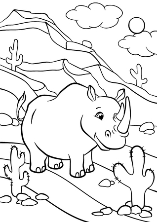 Coloring pages. Animals. Cute rhinoceros stands and smiles. Stock Vector - 56471405