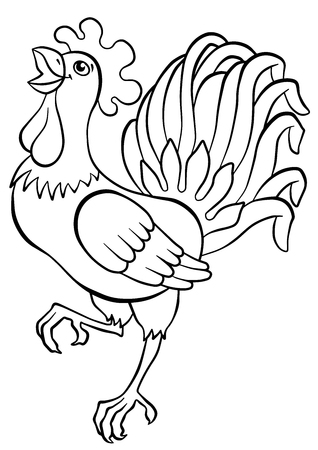 cries: Coloring pages. Birds. Cute rooster stands and cries.