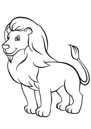 dibujos para pintar: P�ginas para colorear. Animales. Le�n lindo se levanta y sonr�e.