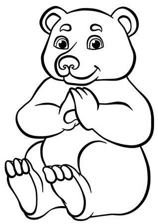 sits: Coloring pages. Animals. Little cute bear sits and smiles.