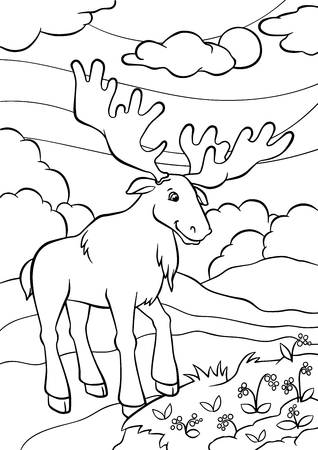 coloring pages: Coloring pages. Animals. Cute elk stands in the forest and smiles.