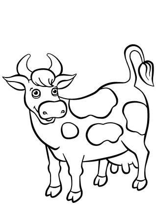 dibujo para colorear color me vaca vaca manchada linda se coloca