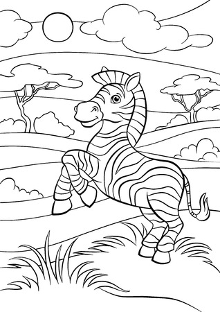 Coloring pages. Animals. Little cute zebra stands and smiles.