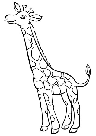 Pagine di colorazione. Animali. Piccola giraffa carina sorge e sorride.