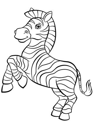 dibujos para colorear: P�ginas para colorear. Animales. Peque�os puestos cebra linda y sonrisas. Vectores