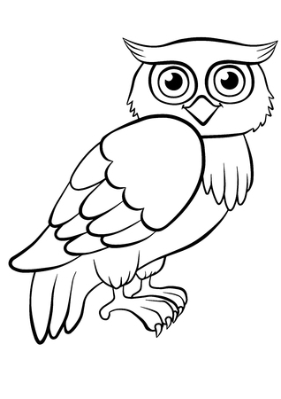 printable coloring pages: Coloring pages. Birds. Cute owl sits and smiles. Illustration