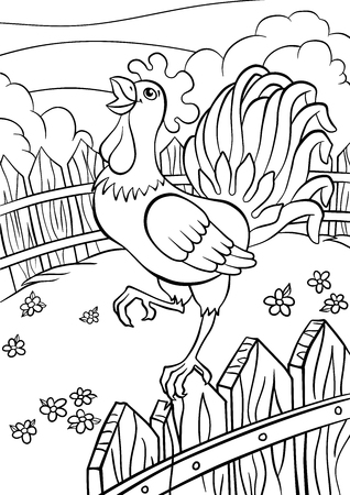 Coloring pages. Birds. Cute rooster stands on the fence and cries. Stock Illustratie