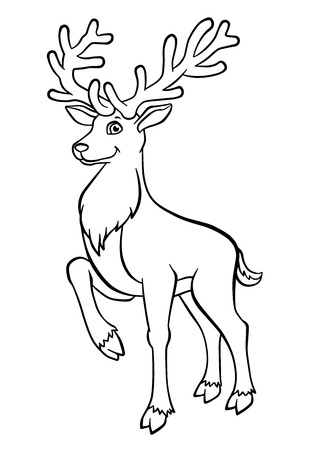 Coloring pages. Animals. Cute deer stands and smiles.