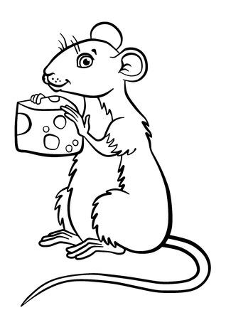 dibujos para colorear: P�ginas para colorear. Animales. Peque�o rat�n lindo sostiene el queso en las manos. Vectores