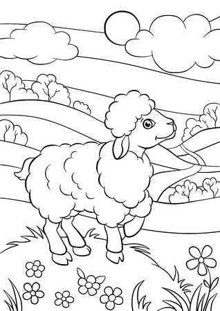 Coloring pages. Animals. Little cute sheep stands and smiles.