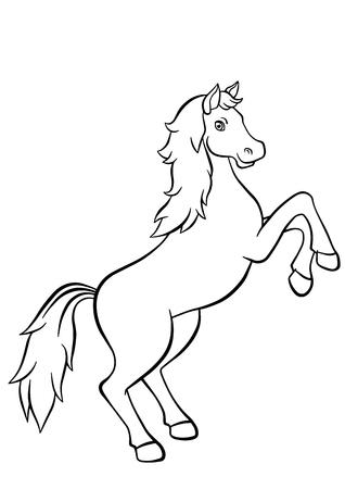 dibujos para colorear: P�ginas para colorear. Animales. Caballo lindo salta y sonr�e.