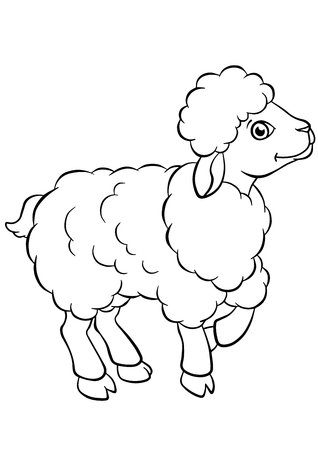 coloring pages: Coloring pages. Animals. Little cute sheep stands and smiles.