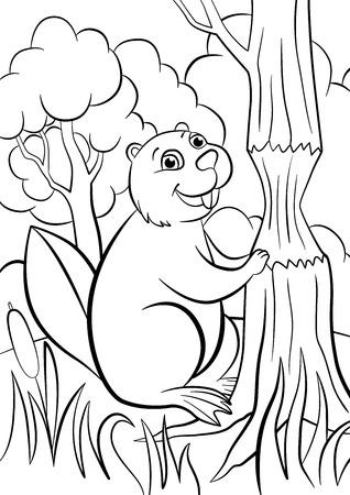 dibujos para colorear: P�ginas para colorear. Animales. Sonrisitas castor lindo.