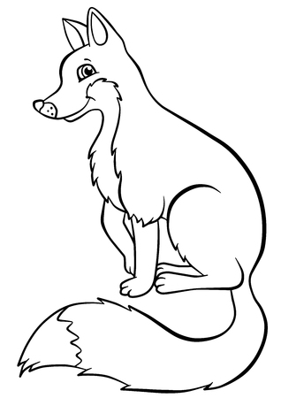 coloring pages: Coloring pages. Animals. Little cute fox sits and smiles. Illustration