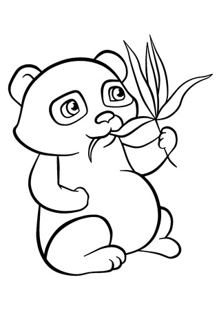 sits: Coloring pages. Little cute pands sits and eats leaves.