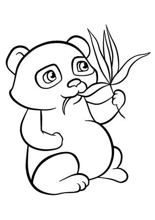 Dibujo Para Colorear. Color Me Panda. Pequeño Panda Lindo Se Sienta ...