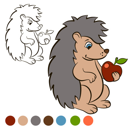 Coloring Page Color Me Hedgehog Little Cute Stands And Holds An Apple