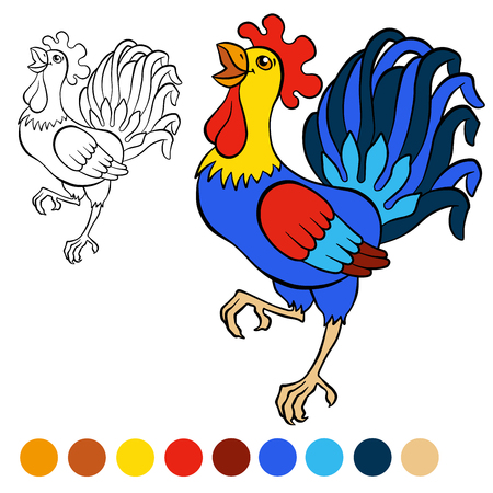 cries: Coloring page. Color me: rooster. Cute beautiful rooster cries. Illustration