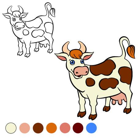 ページを着色。カラーミー: 牛。 かわいいは、スタンドと笑顔に牛を発見しました。
