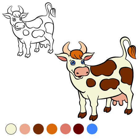 Coloring page. Color me: cow.  Cute spotted cow stands and smiles.