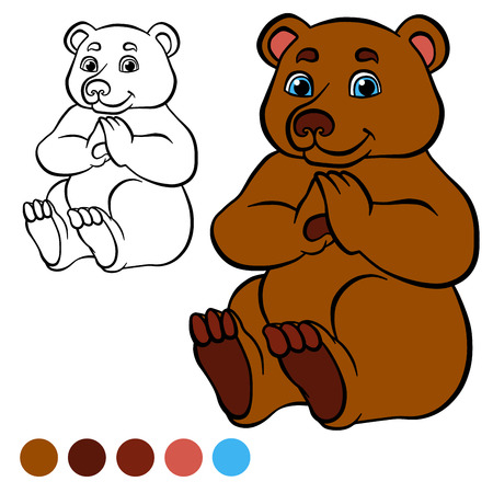 coloration: Coloring page. Color me: bear.  Little cute bear sits and smiles.