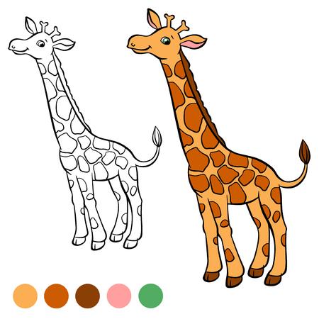 Dibujo Para Colorear. Color Me: Castor. Pequeña Jirafa Linda Se ...
