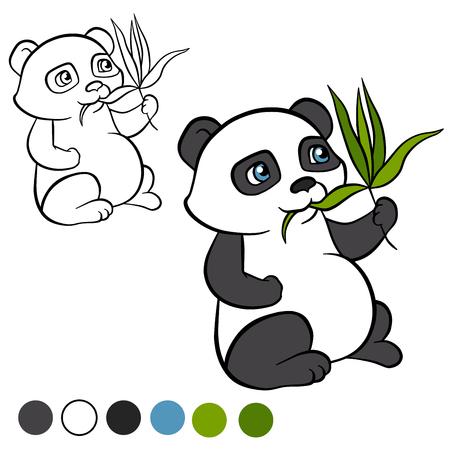 eats: Coloring page. Color me: panda.  Little cute panda sits and eats leaves. It`s happy.