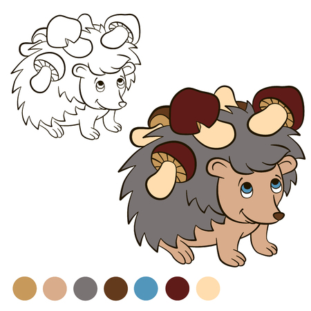 coloration: Coloring page. Color me: Hedgehog. Little cute hedgehog stands and smiles. He has a lot of mushrooms on his needles. Illustration
