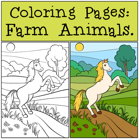 runs: Coloring Pages: Farm Animals. Cute horse runs and smiles. Illustration