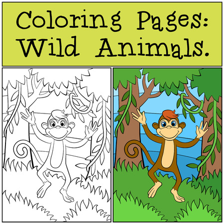 dibujos para colorear: P�ginas para colorear: animales salvajes. Peque�as carreras mono lindo y sonrisas. Vectores