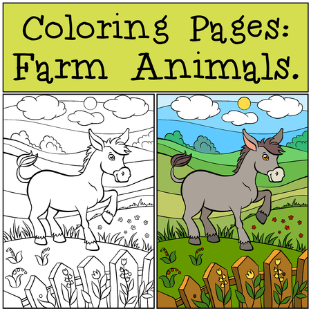 Coloring Pages: Farm Animals. Little cute donkey stands on the grass near the fence and smiles.