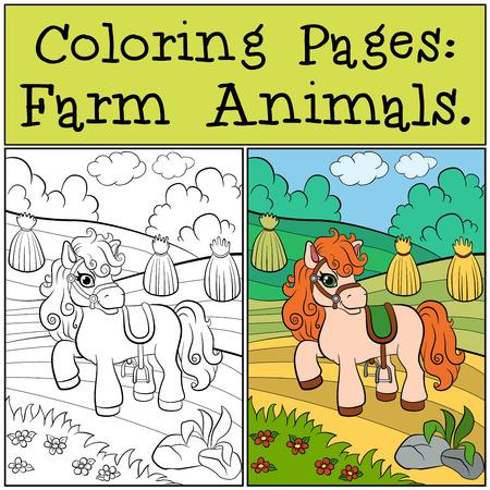 dibujos para colorear: P�ginas para colorear: animales de granja. El peque�o pony lindo se encuentra en el campo y sonrisas.