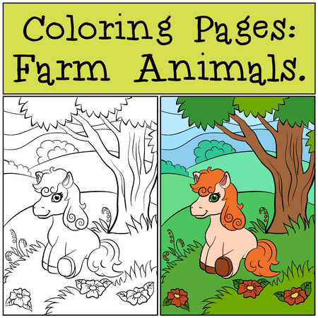 dibujos para colorear: P�ginas para colorear: animales de granja. El peque�o potro lindo se sienta cerca del �rbol y sonr�e.