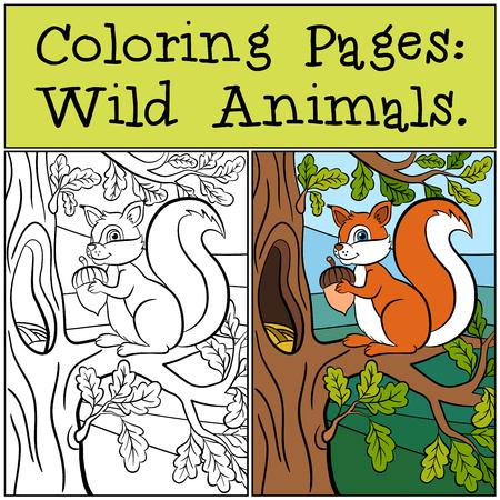 Kleurplaten: Wild Animals. eekhoorn Weinig leuk staat op de eiken banch en glimlacht.