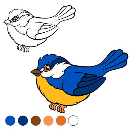 titmouse: Coloring page. Color me: titmouse.  Little cute titmouse smiles. Illustration
