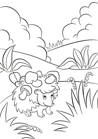 Coloring pages. Little cute kind hedgehog has the mushrooms on the needles. There are bushes, plants, grass and berries around. The hedgehog smiles.