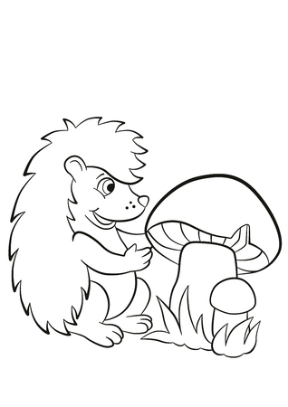 sees: Coloring pages. Little cute hedgehog sees the big mushroom. The hedgehog is happy. Illustration