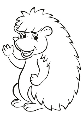 Coloring pages. Little cute hedgehog waves and smiles. He is happy. Illustration