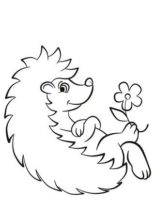 着色のページ。小さなかわいいハリネズミは産むし、笑顔します。足には花があります。