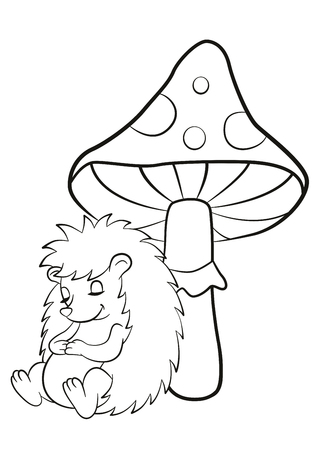 Coloring pages. Little cute hedgehog sleeps near the big toadstool. The hedgehog smiles.