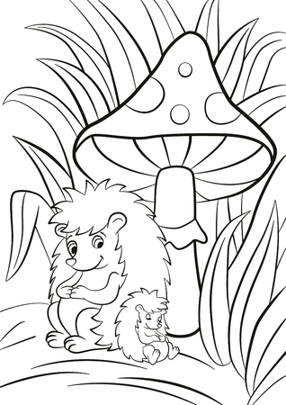 Malvorlage. Vector Übersicht Zeichnung Eichhörnchen Mama Und Baby ...