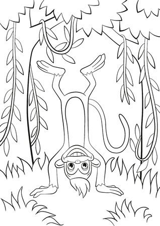 着色のページ。かわいい小猿が立って udside ダウンとフォレストの笑顔です。木およびつる植物です。