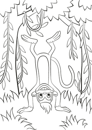 Coloring pages. Little cute monkey is standing udside down and smiling in the forest. Among trees and lianas. Illustration
