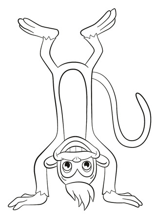 upside: Coloring page. Little cute monkey standing upside down and smiling.