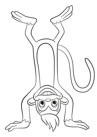 cabeza abajo: Dibujo para colorear. Pequeño mono lindo que se coloca boca abajo y sonriendo.