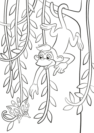 coloring pages little cute monkey is hanging on the tree branch