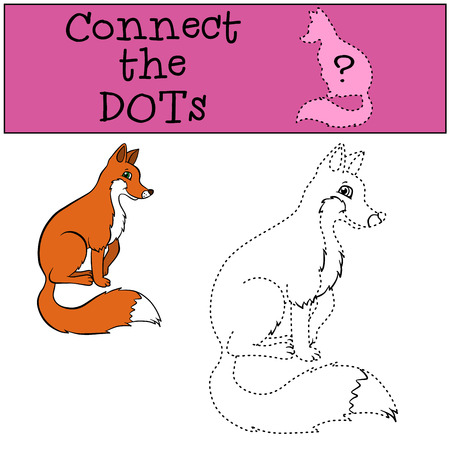 hide and seek: Children Games: Connect the Dots. Little cute fox sits and smiles.