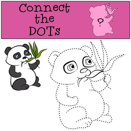 eats: Children Games: Connect the Dots. Little cute panda eats leaves.
