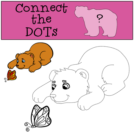 baby bear: Educational games for kids: Connect the dots. Little cute baby bear looks at the butterfly. Illustration